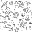 Cute Space Sketch Doodle Vector Set — Stock Vector