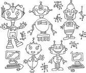 Robot tecnología garabatos vector ilustración arte conjunto — Vector de stock
