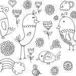 Spring Summer Bird Flower Vector Doodle Set — Stock Vector #42761983