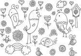 Spring Summer Bird Flower Vector Doodle Set — 图库矢量图片