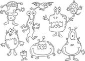 Halloween Monsters Vector Doodle Illustration Art Set — Stock Vector