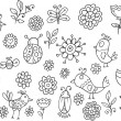 Springtime Bird Flower Vector Doodle Set — Stock Vector
