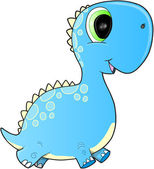 Happy Blue Dinosaur Vector Illustration Art — Stock Vector