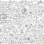 Mega Doodle Design Elements Vector Set — Stock Vector