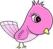 Pink Cute Bird Vector Illustration Art — Stock Vector