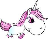 Pretty White Unicorn Vector Illustration — Vettoriale Stock