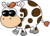 Happy Cute Cow Vector Illustration Art — Wektor stockowy