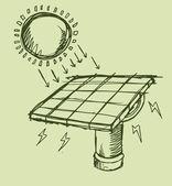 Solar Energy Sketch Vector illustration Art — Stock Vector