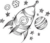 Rocket Space Doodle Sketch Vector — Stock Vector