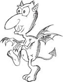Doodle Sketch Devil Vector Illustration Art — 图库矢量图片