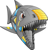 Robot Cyborg Shark Vector Illustration Art — Stock Vector