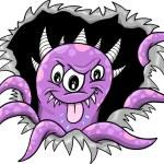 Purple Halloween Monster Vector Illustration — Stock Vector #8380503
