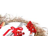 Christmas table setting on white — Stock Photo