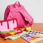 Portfolio and school supplies — Stock Photo