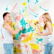 Young couple making repairs — Stock Photo