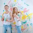Young couple make repair — Stock Photo