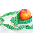 Centimeter and apple — Stock Photo