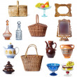 Dishes and baskets — Stok fotoğraf