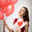 Girl in valentines day — Stock Photo