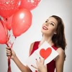 Girl in valentines day — Stock Photo