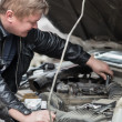 Stock Photo: Replacement of spark plugs