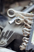 Wrench set on a motor vehicle — Stock Photo