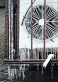 Air Conditioning frozen in ice — Stock Photo