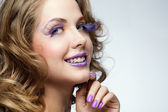 Woman with bright makeup — Stock Photo