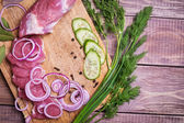Sliced raw meat pork — Stock Photo
