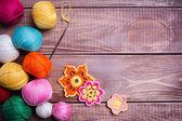 Balls of colored yarn — Stock Photo