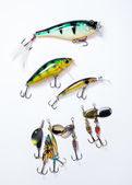 Fishing hooks with bait  — Stock Photo