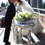 Kuss des Bräutigams und der Braut — Stockfoto