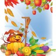 Background with autumn leaves and vegetable — Imagen vectorial