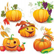 Stock Vector: Autumn still life with pumpkins