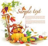 Modello su un tema sul raccolto d'autunno — Vettoriale Stock
