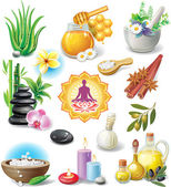 Set of spa treatment symbols — ストックベクタ