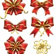 Set of red gift bows — Stock Vector