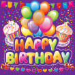 Happy birthday text on background with party element - Stok Vektör