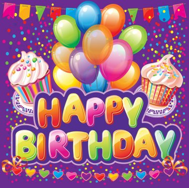 Happy birthday text on background with party element
