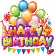 Happy birthday text with party elements - Imagen vectorial