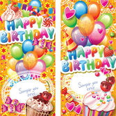 Happy birthday vertical cards — Stock Vector