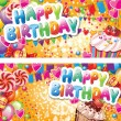 Happy birthday horizontal cards — Vettoriale Stock #18856819