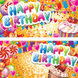 Happy birthday horizontal cards — стоковый вектор #18856819