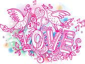 Dessinées à la main de saint-valentin journée love sommaire — Vecteur