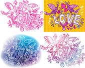 Set of Love sketchy — Stock Vector