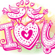Love sketchy with birds and heart - Stock Vector
