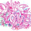 Royalty-Free Stock Imagem Vetorial: Love sketchy with birds and heart