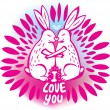 Love sketchy with with rabbits — Stock Vector