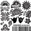 Hawaii Set in black and white — Stock Vector #19945669