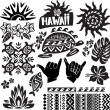 Stock Vector: Hawaii Set in black and white